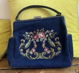 Luxury Needlepoint Tapestries Bag Vintage Handbag Mid Century 1960's 1950's Navy