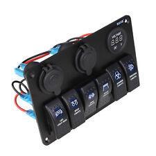 6 Gang Waterproof RV Car Marine Boat Circuit Blue LED Rocker Switch Panel