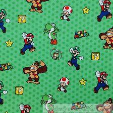 BonEful Fabric Cotton Quilt Super Mario Brothers Nintendo Game Star Stripe SCRAP