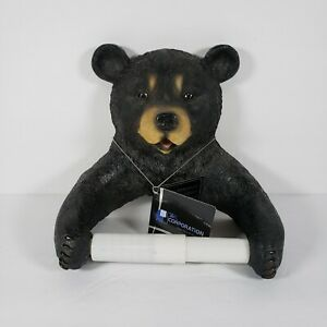 Black Bear Toilet Paper Holder Wall Mount Cabin Lodge Decor Brand New w/ Tag