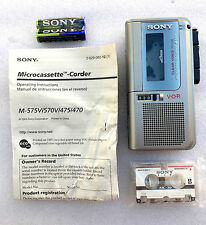 Sony M-570 Handheld Micro-Cassette Voice Recorder W/ 3 Tapes + 1 Year Warranty!