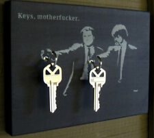 "KEY HOLDER Banksy's Pulp Fiction. ""Keys Mother*bleeper*"". Wood Hanging Key Hook"