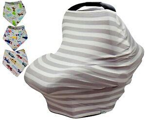 Baby Car Seat Canopy Nursing Cart Stroller Cover Gray Striped Drool Bib for Boys