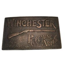 Vintage Brass Belt Buckle Winchester Repeating Arms New Haven Conn