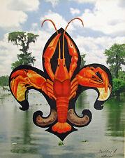 Fleur de Lis Crawfish Bayou New Orleans Baltas Matted Art Print French Quarter