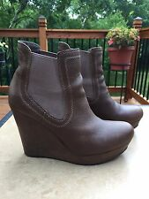 Seychelles Brown Leather Wedge Heel Ankle Boots Sz 8.5 M