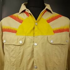 REPLAY Mens Vintage Shirt Snap On Buttons XL Long Sleeve Beige Regular Fit