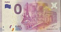 BILLET 0  EURO  PARIS 3 MONUMENTS ND AU CENTRE FRANCE 2016 NUMERO 100