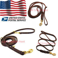 Adjustable Genuine Leather Dog Leash for Medium & Large Dogs 2M/2.5M/3M w/ Hook
