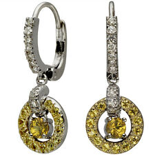 Dangling Earrings Sapphire Earrings With Yellow Sapphires And Diamonds 14k Gold