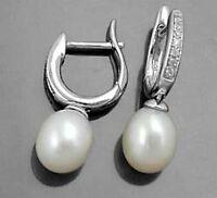 925 ECHT SILBER RHODINIERT *** Zirkonia Perlen Creolen Ohrringe 23 mm
