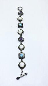 """Vintage 925 Sterling Silver Mother of Pearl Blue Topaz Amethyst Bracelet 8"""""""