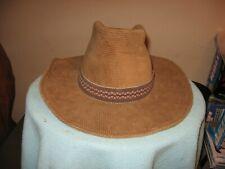 Vintage Miller Brothers Brown Corduroy Rodeo Western Cowboy Hat sz-7 1/4-7 3/8