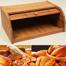 Bamboo Wood Roll top Bread Box Kitchen Food Storage Container Bread Holder