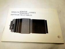 Minolta Rokkor -X Lenses depth of Field Tables Guide EN free shipping USA