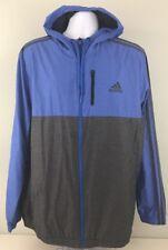 Adidas Men's Essential Woven Jacket Hooded Windbreaker Blue/Gray Size XL     (B)