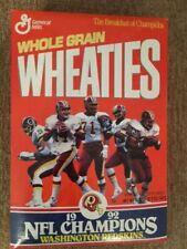 Washington Redskins NFL team 1992 Champions Wheaties Box Unopened