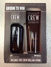 American Crew groom Men's 3 In 1 shampoo &  Firm Hold gel 8.4 oz Plus Apron Kit