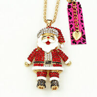 Betsey Johnson Crystal Enamel Santa Claus Pendant Long Chain Necklace Xmas Gift