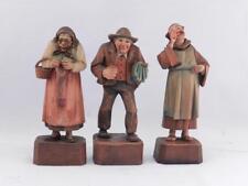 Rare~Vintage Set of 3 Villagers~Anri Wood Carving~Sculpture~Kathari na Kaslatter~