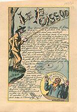 Caricature Politique Poisson Friture  Goujon Pêcheur à la Ligne Léon Camée 1936