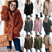 Womens Teddy Bear Button Pocket Fluffy Coats Fleece Fur Jacket Outerwear Hoodies