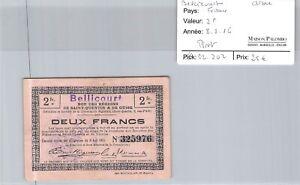 Bon des régions BELLICOURT - 2 Francs 8/8/16 - N°325976