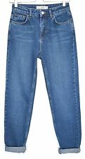 Topshop MOM High Waisted Dark Blue Stonewashed TAPERED Jeans Size 12 W30 L30
