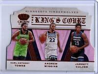 2019-20 Panini Crown Royale The Kings Court TIMBERWOLVES Towns, Wiggins, Culver