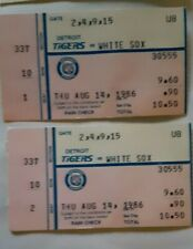 1986.8.14 Detroit Tigers v White Sox 2 ticket Stubs Harold Baines 3 hits
