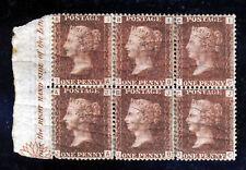 GB QV 1868 1d Red Plate 173 BLOCK OF 6 IA-JC MARGINAL INSCRIPTION SG 43 MINT
