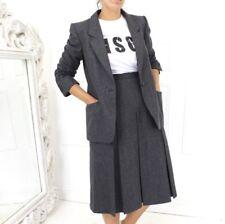 Vtg 90s Escada Equestrian Pure Wool Grey Midi Skirt Blazer Career Suit 40 12