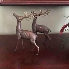 Solid Brass Goldtone Spots Reindeer / Buck Figures Statues Made In India