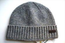 BARBOUR Grey Fleck WOOL Beanie Toque Hat Mens Leather Tab BAR47