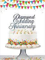 60th Diamond Wedding Anniversary Custom Cake Topper Personalised Glitter