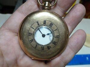 WALTHAM GOLD PLATED HALF HUNTER  POCKET WATCH 21788570 (1917)