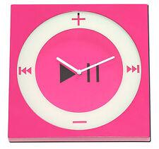 Wanduhr Mp3 Player iPod Nano Design Pink/Weiß Wand Uhr Uhren Kunststoff Analog