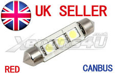 RED C10W 44mm SMD HIGH POWER LED INTERIOR FESTOON BULB C5W