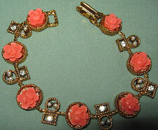 EXQUISITE Vtg FAUX CARVED CORAL ROSE BRACELET Molded Plastic RHINESTONES Pearls