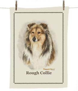 Waggy Dogz Rough Collie Head (cd136) 100% Cotton Dog Breed Tea Towel C Varley