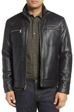 Cole Haan Signature Men's Faux Leather Zip Jacket Utility Coat Black Size Large