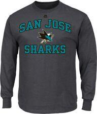 NHL Ice Hockey T-Shirt San Jose Sharks Long Sleeve Heart And Sould