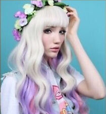 Beautiful pink purple white gold mixed curly long cosplay wig+hairnet