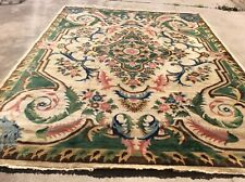 AUTHENTIC VINTAGE FRENCH DESIGN SAVONNERIE RUG. WOOL HAND KNOTTED. 9' X 12'