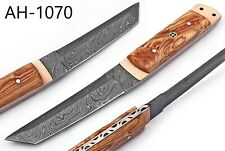 HAND FORGED DAMASCUS STEEL TANTO POINT HUNTING KNIFE &OLIVE WOOD HANDLE AH-1070