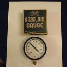 "New Marshalltown 3 1/2"" Pressure Gauge Fig 45 30# x 30"" Tapped 1/4""  Steel Case"