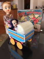 S & E PONYTAIL GIRL & BABY CARRIAGE 1950's BATTERY OPERATED TOY W/RARE BOX