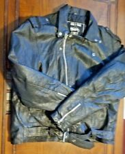 Silver Bike Motorcycle Black Leather Jacket Size 48 USED VERY GOOD CONDITION