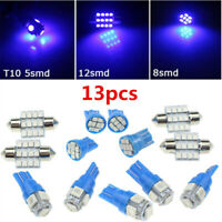 New 13pcs Car Interior Blue LED Light Reading Bulb Lamp For Dome Trunk Door