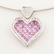 14k White Gold Diamond & Pink Sapphire Heart Pendant w/ Wire Chain Gift for Her!